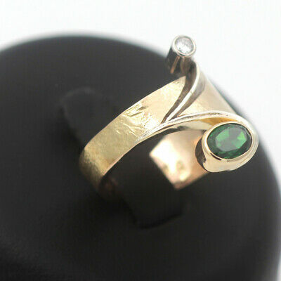 Brillant Smaragd Ring 750 Gold Diamant 18 Kt Bicolor Wert 1990 Euro