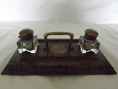 Antique Pen and Ink Holder - Wooden Base, Glass Inkwells, Brass Lids and Handle