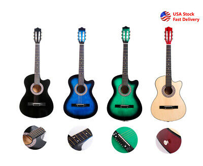 38''Acoustic Guitar Cutaway Musical Instrument Kit w/Case Strap Tuner Pick