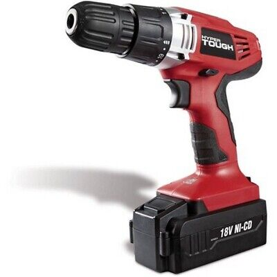 Hyper Tough 18 Volt Ni-Cad Cordless Drill Driver Rechargeable LED Light Keyless