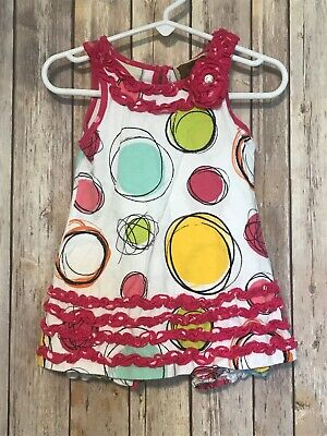 My Vintage Baby Girls Abstract Circles Ruffle Jumper Romper Summer 3 Months
