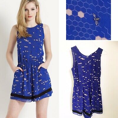 MONSOON Fusion Bee Mine Honeycomb Playsuit 12 Summer Festival Beach Cute Quirky