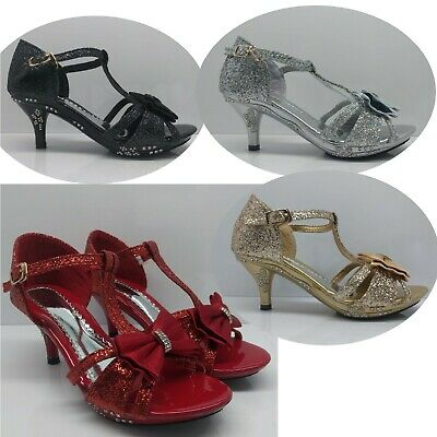 Girls Childrens Kids Bow Party Wedding Bridesmaids Heels Princess Shoes Size