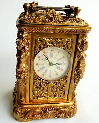 Small Heavy Antique Gilt Bronze Carriage Clock. working with loose handle at top