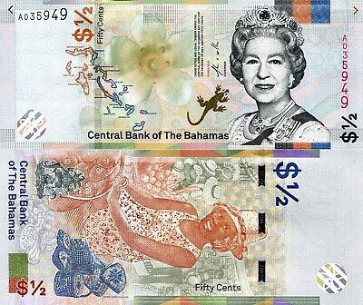 BAHAMAS ½ Dollar Banknote World Paper Money UNC Currency Pick p-New 2019 Queen