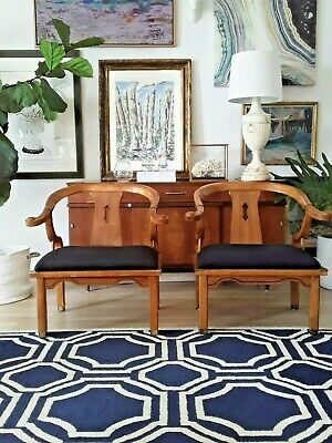 Vintage James Mont Style Mid Century Horseshoe Chinese Ming Wood Club Chairs