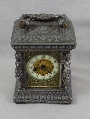 Antique Small Ansonia Carriage Clock With Very Ornate Case - Working