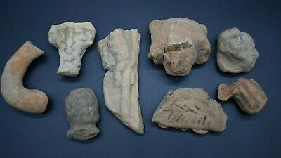 Mixed lot of ancient Greek terracotta idol & pottery fragments 1st millennium BC