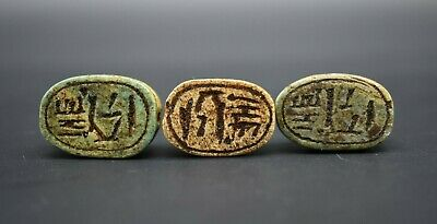 Group of 3 Grand Tour period Egyptian scarab beads