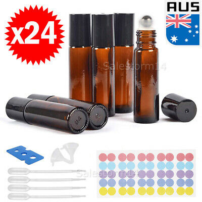 24x 10ml Amber THICK Glass Roller Bottles Steel Roll on Ball Essential Oils AU