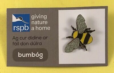 RSPB NI GNaH Irish Pin Badge On Card - bumbog Bumblebee