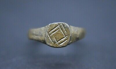 Medieval period bronze finger ring with decoration C. 13th - 15th century AD