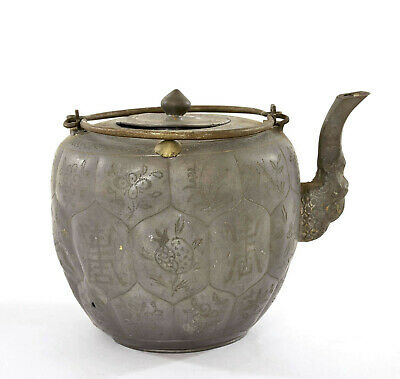 1900's Chinese Pewter Teapot Tea Kettle Calligraphy Flower Fruit Marked