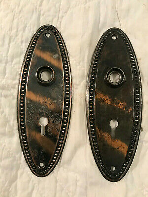 Pair Oval Japanned / Copper Flash Early 1900's Door Knob Backplates, Free S/H