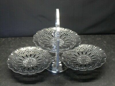 Chrome Folding Gong Type 3 Tier Cake Bun Biscuit Plate 7.5 Inch Diameter Plates