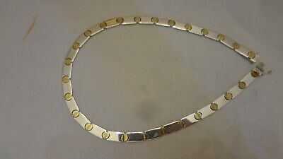 Vintage Sterling Silver 925 Italy Circle Love Two tone Link Necklace 33.1 grams