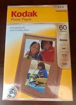 Kodak Photo Paper Instant Dry Gloss 4x6 in. 60 Sheets Unopened Package
