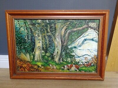 Vintage Signed Oil Painting Abstract Forest Scene Artist Heather Neill