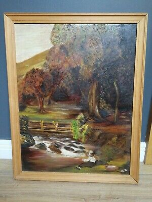 Vintage Signed Oil Painting Stream Forest Fishing Scene Artist A R