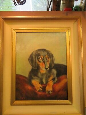 Vintage  English school  oil painting of a Dachshund dog by L Fernley