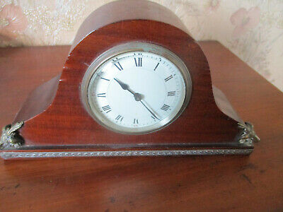 antique EDWARDIAN BRASS DECO MAHOGANY MANTEL CLOCK/FRENCH MOVEMENT