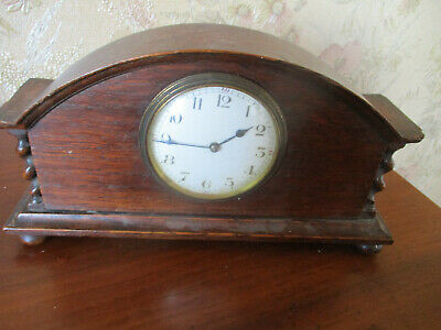 antique EDWARDIAN  DECO MAHOGANY MANTEL CLOCK/FRENCH MOVEMENT
