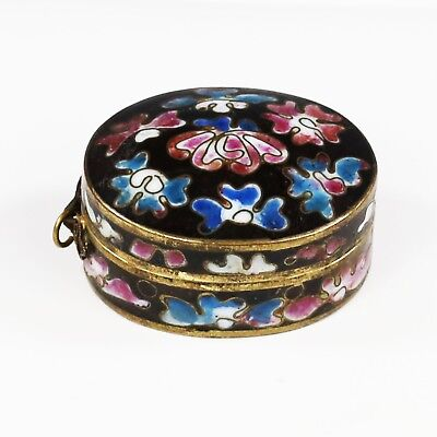 Antique Chinese cloisonne pill Box pendant hinged lid champleve