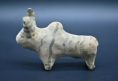 Ancient Indus Valley terracotta decorated bull figurine 2nd millennium BC