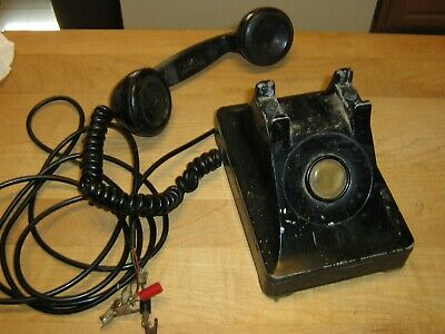 Antique Black No Dial Telephone Bell System Western Electric - F1 Hand Set