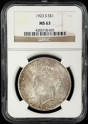 1923 S Silver Peace Dollar certified MS 63 by NGC! Nicely toned!