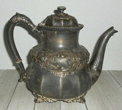 Vintage 1887 REED & BARTON Silverplate Coffee / Teapot Holloware Footed Pitcher