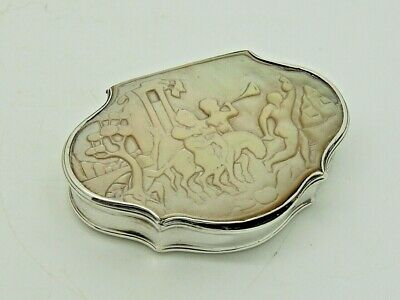 Antique Georgian Silver Snuff Box England 1740 – Mother of Pearl MOP QUALITY