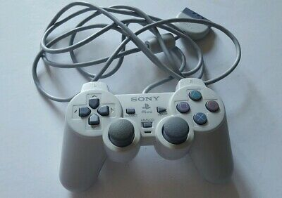 Official Sony Ps1 Ps2 Playstation Wired Controller Genuine White Grey ☆ Tested ☆