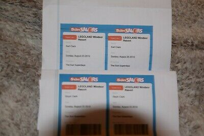 4x Legoland Windsor tickets Sunday 25th August Bank Holiday Email tickets