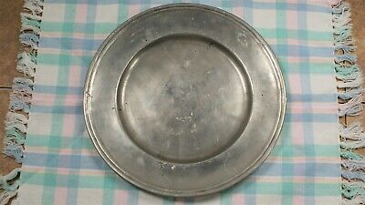 """Vintage 8 3/4"""" Pewter Plate with Hallmarks"""
