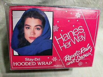 VTG 1990 NIB Women's Hooded Wrap Water Repellent Hanes Her Way Black USA