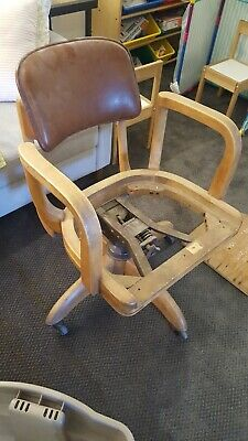 W.H. Gunlocke Vintage Antique Wood Swivel Bankers Office Desk Chair