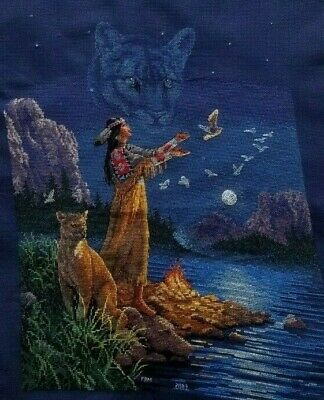 Completed Cross Stitch Native American Woman Cougar Totem Spirit Animal Fire sgn
