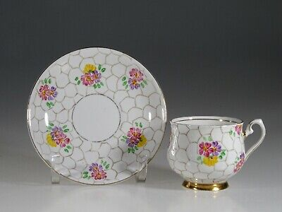 Phoenix China Hand Painted Pink Floral Tea Cup and Saucer, England
