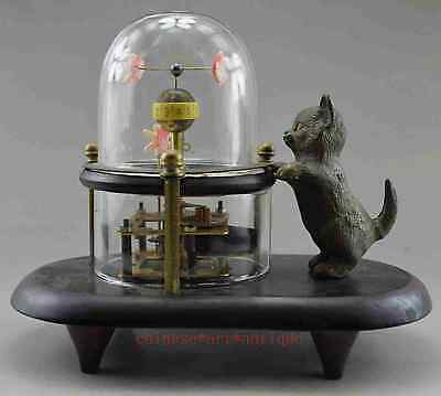 Collectible Old Handwork Copper Carved Cat Fish Mechanical Table Clock f02