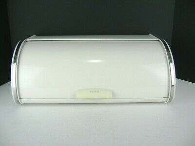 VTG Brabantia Bread Box White Metal & Chrome Roll Top Retro Belgium Mid Century