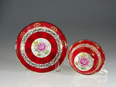 Royal Grafton Red and Gold Bands with Pink Roses Tea Cup and Saucer, England