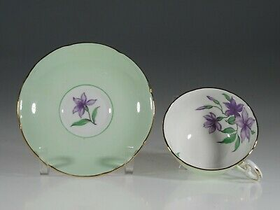 Royal Grafton Pale Green with Purple Clematis Tea Cup and Saucer, England