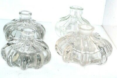 4pc Lot Clear Antique Perfume Bottle Base no stoppers Vintage
