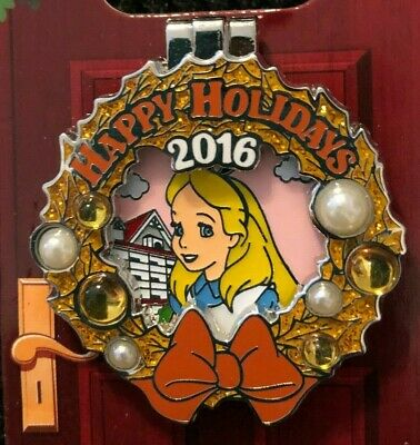 disney trading pin happy holidays limited edition 2016 hinge alice in wonderland