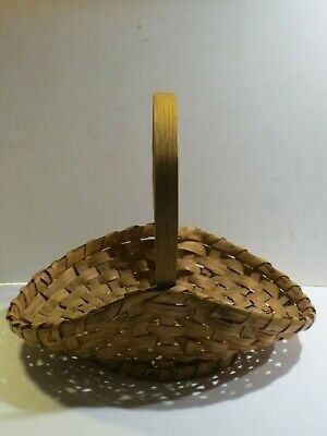 Great Lakes Native American Indian Split Oak Basket With Bentwood Handle