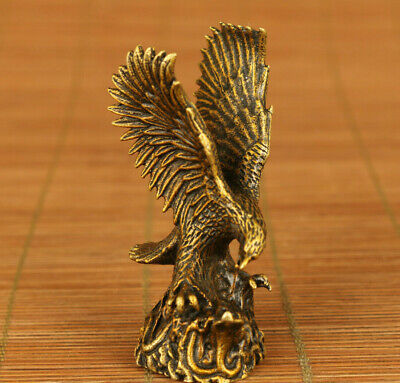 antique chinese old copper hand carved eagle statue figure netsuke hand piece