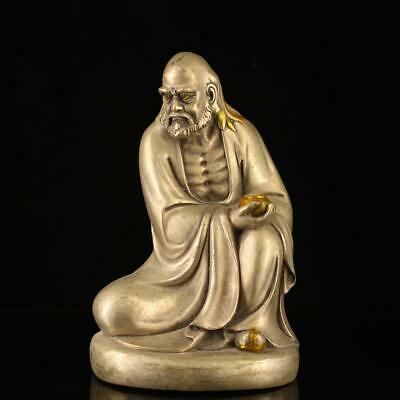 china old copper-plating silver hand-made gold drawing BodhiDharma statue h02A