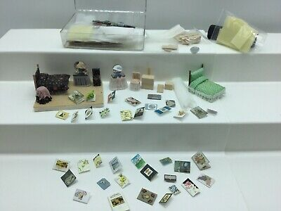 Tiny Dollhouse Furniture Wood Craft Extra Pieces Bed Dresser Chair Vanity Cards