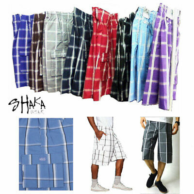 Shaka Wear Men's Checkered Relaxed Fit Plaid Cargo Shorts Loose Fitting S~5XL